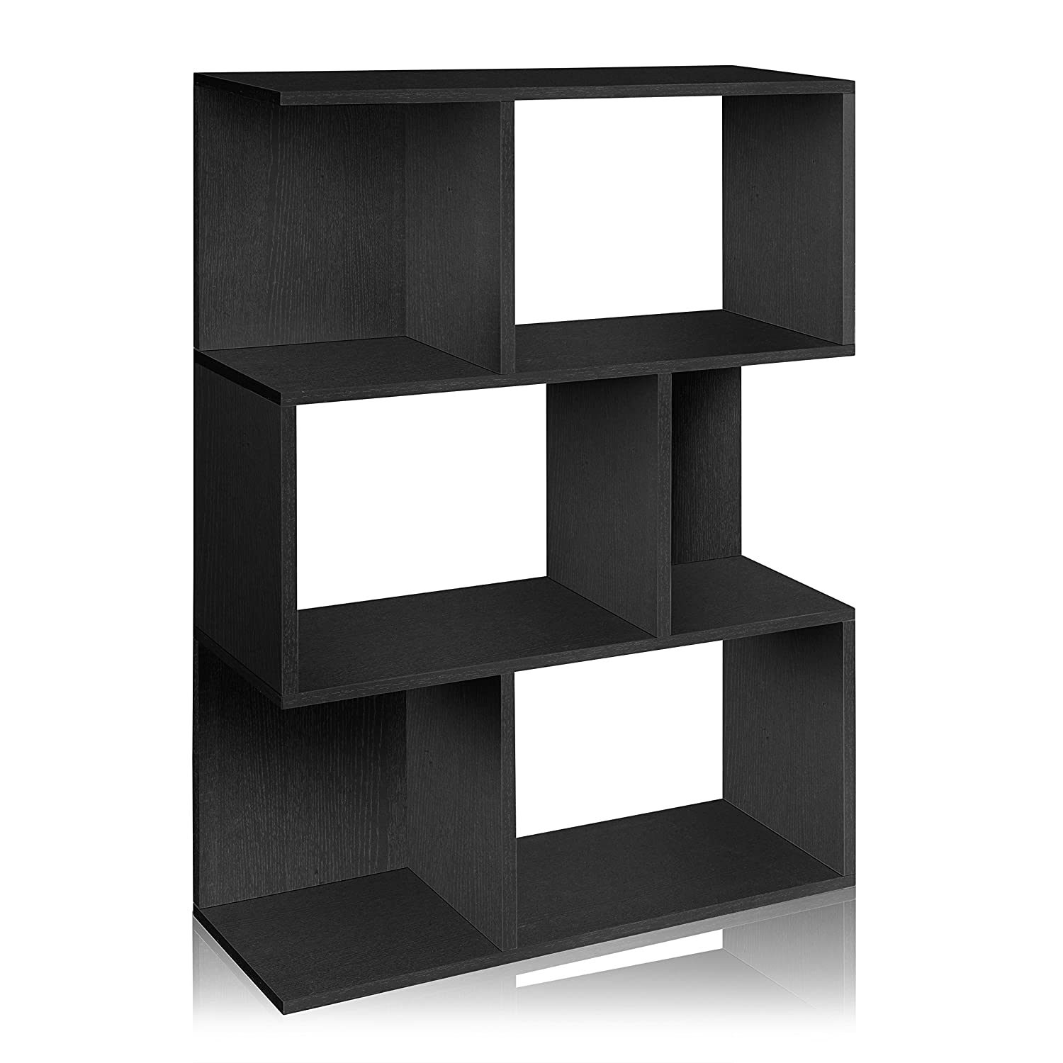 Amazon Com Way Basics Eco Madison Bookcase Room Divider And Storage Shelf Black Made From Sustainable Non Toxic Zboard Paperboard Kitchen Dining