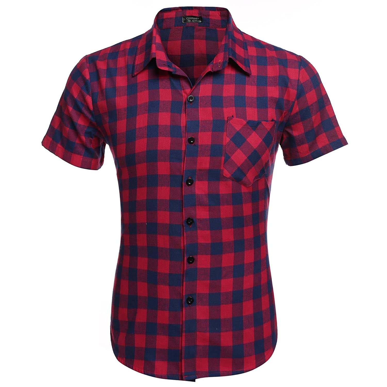 Coofandy Herren Casual Plaid Shirt Slim Fit Fit Fit T-Shirts B071VPQ5QK Freizeit Elegant und feierlich b56daa
