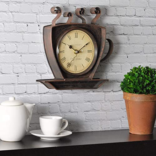 FirsTime Co. Coffee Cup Wall Clock, Oil Rubbed Bronze