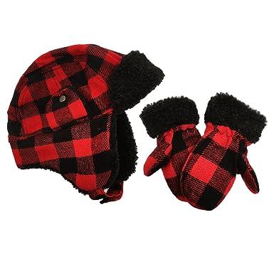 Kids Baby Boys Trapper Hat   Mitten Set Toddler Check Design (Red Black  Trapper 7e9f0864b54
