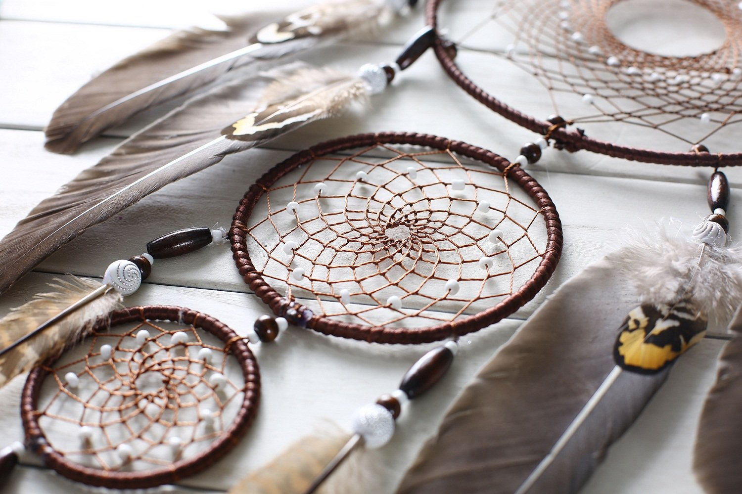 Large Brown Dream Catcher 8x31 Inch Beaded Nature Feathers With 3 Handmade Weave Webs Boho Hippie Native American Wall Hanging For Bedroom Baby Shower Party Home Dorm Aesthetic Living Room Decor by DrCor (Image #3)