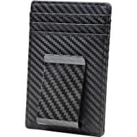 Travelambo Money Clip Front Pocket Wallet Slim Minimalist Wallet RFID Blocking (01 carbon fiber elite)