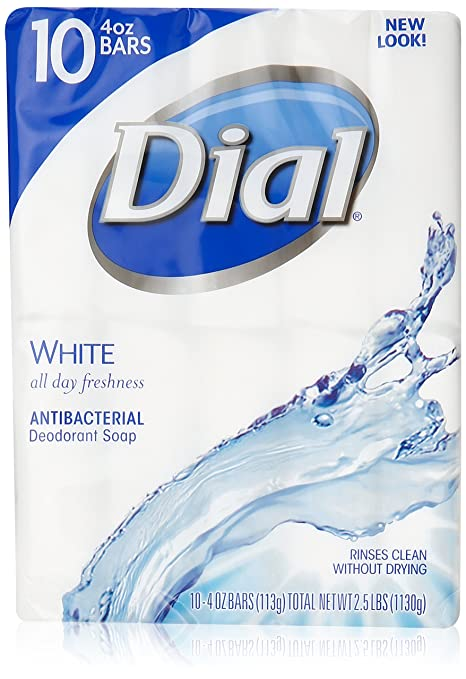 Dial Antibacterial Deodorant Soap, White, 4 oz. BARS, 10 Count (Pack of 3)