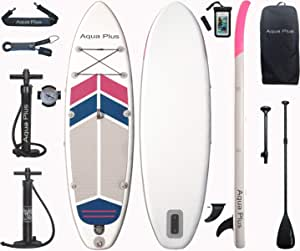Aqua Plus Inflatable Stand Up Paddle Board High Pressure Double Action SUP Pump Black, 63cm