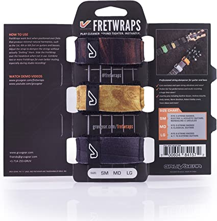 Small Gruv Gear Bandana FretWraps Fret Wraps Guitar String Muter Single Black