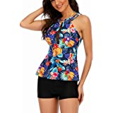 Ageeth High Neck Tankini Swimsuits for Women Back Cross Keyhole Neckline Tankini Tops Loose Slimming Bathing Suit