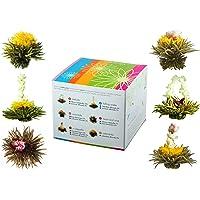"""Feelino Edle 6er-Mischbox -Teeblumen """"Medley green"""" in toller Probier- und Geschenkbox mit 6 verschiedenen Grüntee-Teerosen, einzeln vakuumverpackt, 1er Pack"""