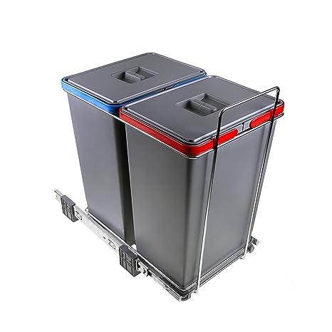 ELLETIPI Ecofil PF01 44B2 Mülleimer Mülltrennung, ausziehbar für Base,  Kunststoff und Metall, Grau, 30 x 45 x 46 cm