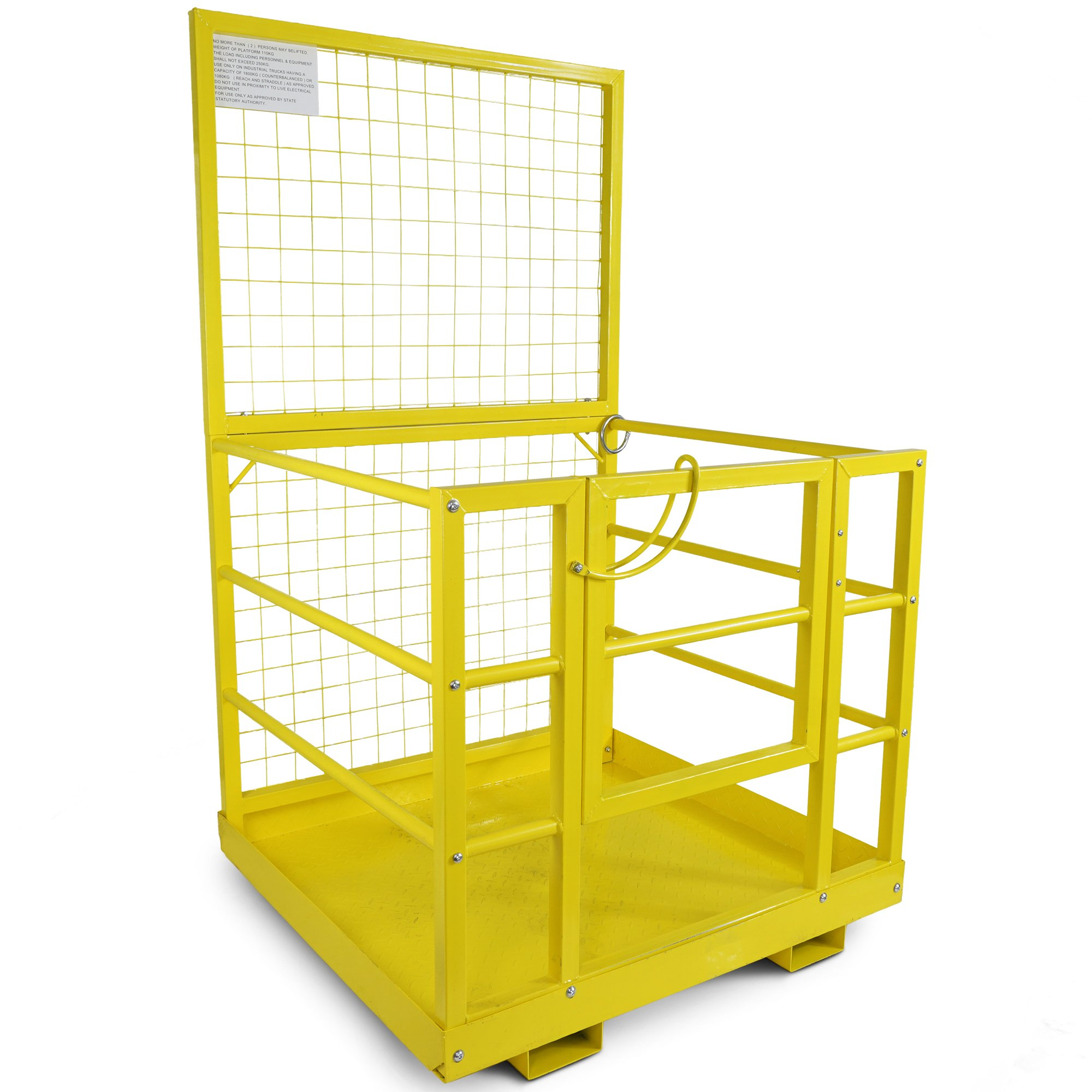 Forklift Safety Cage Work Platform Lift Basket Aerial Fence Rails Yellow 2 man by Titan Attachments (Image #1)