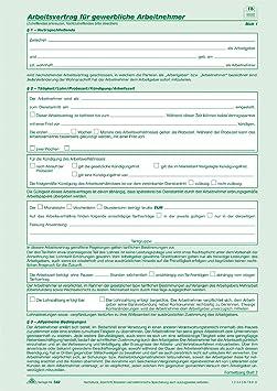 Rnk Arbeitsvertrag Gewerbl54210 Din A4 Inh10 Amazonde