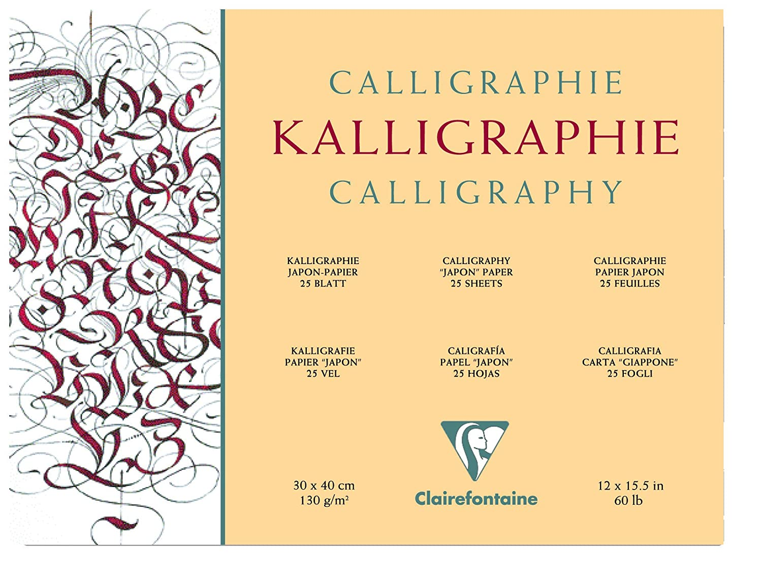 Clairefontaine 24 x 30 cm Calligraphy Pad, 130 g, 25 Sheets 96439C