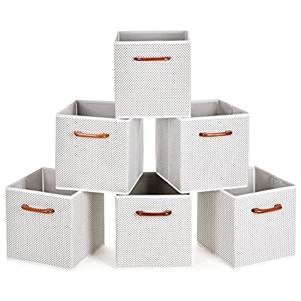MaidMAX Cloth Storage Bins Cubes Baskets Containers With Wooden Handles For  Home Closet Bedroom Drawers Organizers