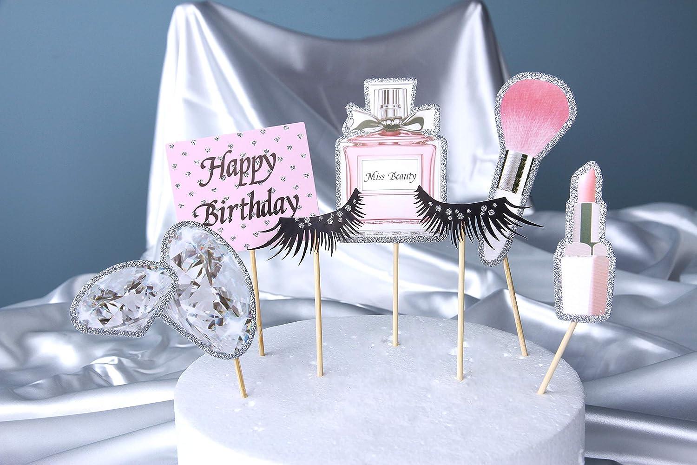 Stil 1 Regendeko Happy Birthday Lady Thema M/ädchen Kuchendekoration Cupcake Toppers Geburtstagskuchen Deko Tortendeko Schminke