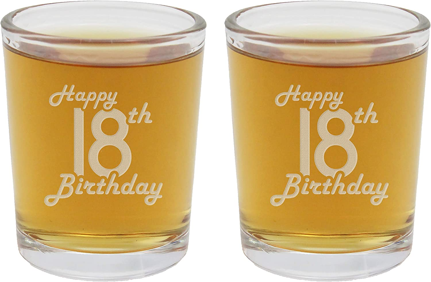 2pk Etched 2.5oz Shot Glasses - Happy 18th Birthday - 18 Years Old Gifts
