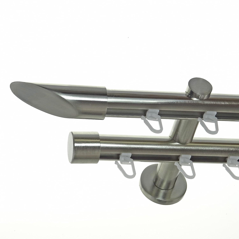 Innenlauf Gardinenstange Edelstahl Look 20mm Wandträger 2-läufig Schräge, Länge wählbar H40 E32E30, Länge 400 cm