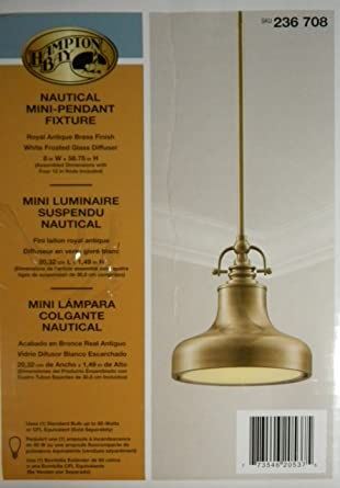 nautical mini pendant light antique brass