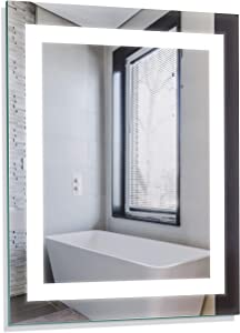 "Homewerks 100150 White 24""x30"" LED Bathroom Mirror, Anti Fog Wall Mounted Horizontal or Vertical Vanity, 5000 Kelvin, Bright Daylight Color Temperature Light"