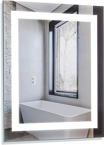 Homewerks 100150 White 24 x30 LED Bathroom Mirror, Anti Fog Wall Mounted Horizontal or Vertical Vanity, 5000 Kelvin, Bright Daylight Color Temperature Light