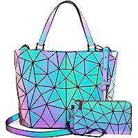 حقائب يد هندسية مضيئة للنساء حقيبة كروس عاكسة ثلاثية الأبعاد