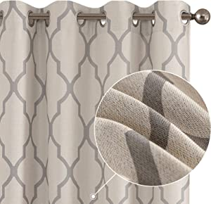 Curtains Living Room Darkening Drapes Bedroom Linen Textured Window Treatment Panels 84 inch Long One Panel Grey on Beige