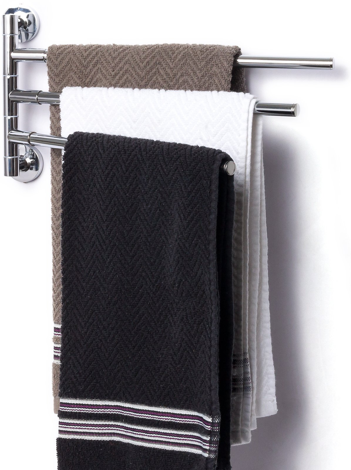 3 Prong Swing Arm Towel Bar - Wall Mounted Stainless Steel Bathroom Towel Rack by Mindful Design (Chrome, 13 inches)