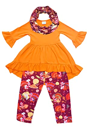 2f302b39156dd Amazon.com  Angeline Boutique Clothing Girls Fall Winter Color Outfit Set  with Scarf - Halloween Thanksgiving  Clothing