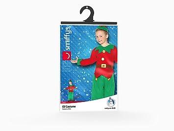 Smiffys Smiffys-24507S Disfraz de Elfo, con Parte de Arriba, pantalón y Gorro, Color Rojo y Verde, S - Edad 4-6 años 24507S
