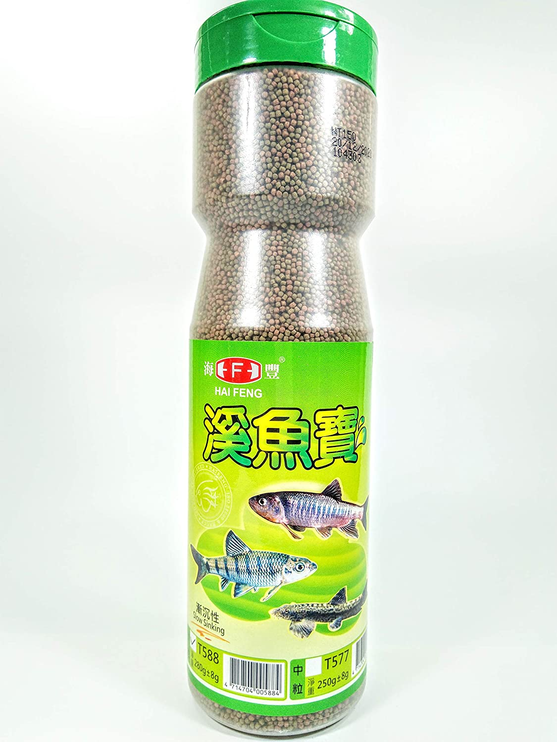 Hai Feng Fish Food 280g for River Fish, Slow Sinking, Small