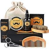 Kit Barba per Uomo, Fixget Kit per la cura della barba Crescita Toelettatura & Rifilatura con Olio Barba & Balsamo Barba & Spazzola Barba & Pettine Barba & Forbici barba & Borsa