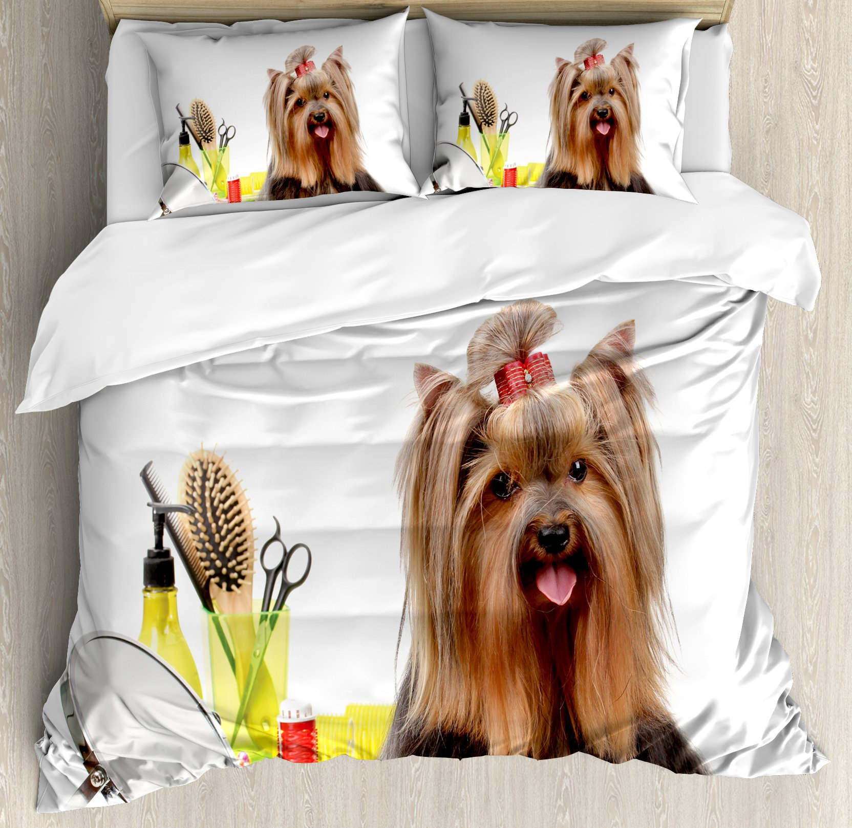 Yorkie Duvet Cover Set Queen Size by Ambesonne, Yorkshire Terrier with Stylish Hairdressing Equipment Mirror Scissors, Decorative 3 Piece Bedding Set with 2 Pillow Shams, Dark Brown Multicolor