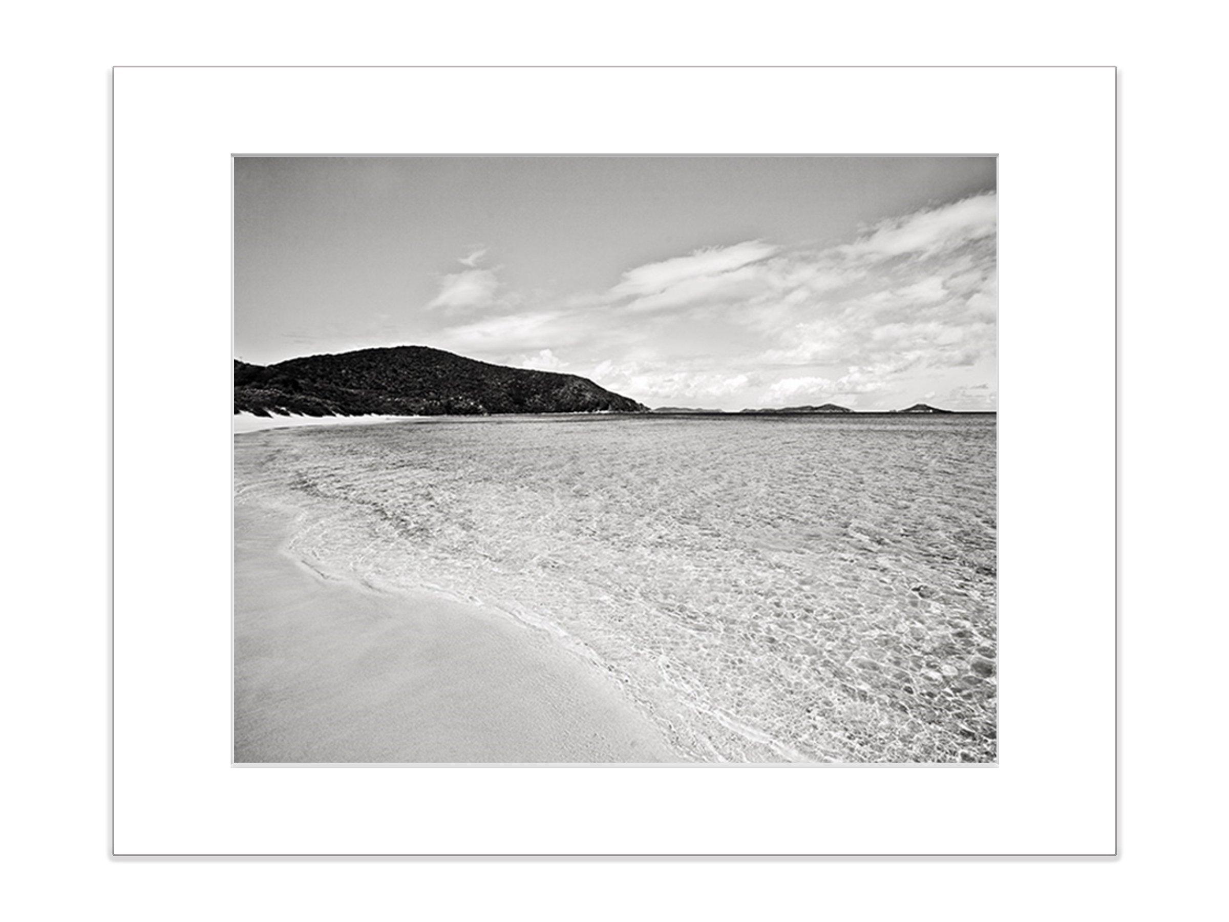 Black and White Coastal Beach Wall Decor 8x10 Inch Matted Photo Print