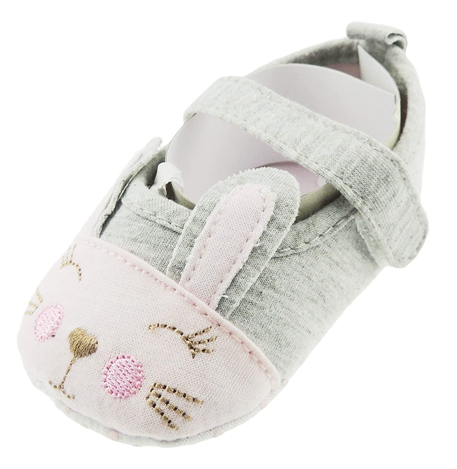 Grey White, 3-6 Months 12 Baby Girls Animal Strap Summer First Walker Cotton Shoes Sandals Heart Nose Bunny