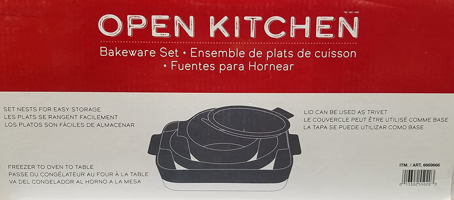Amazon.com: Over-and-Back 3-Piece Bakeware Serving Set (Gray): Kitchen & Dining