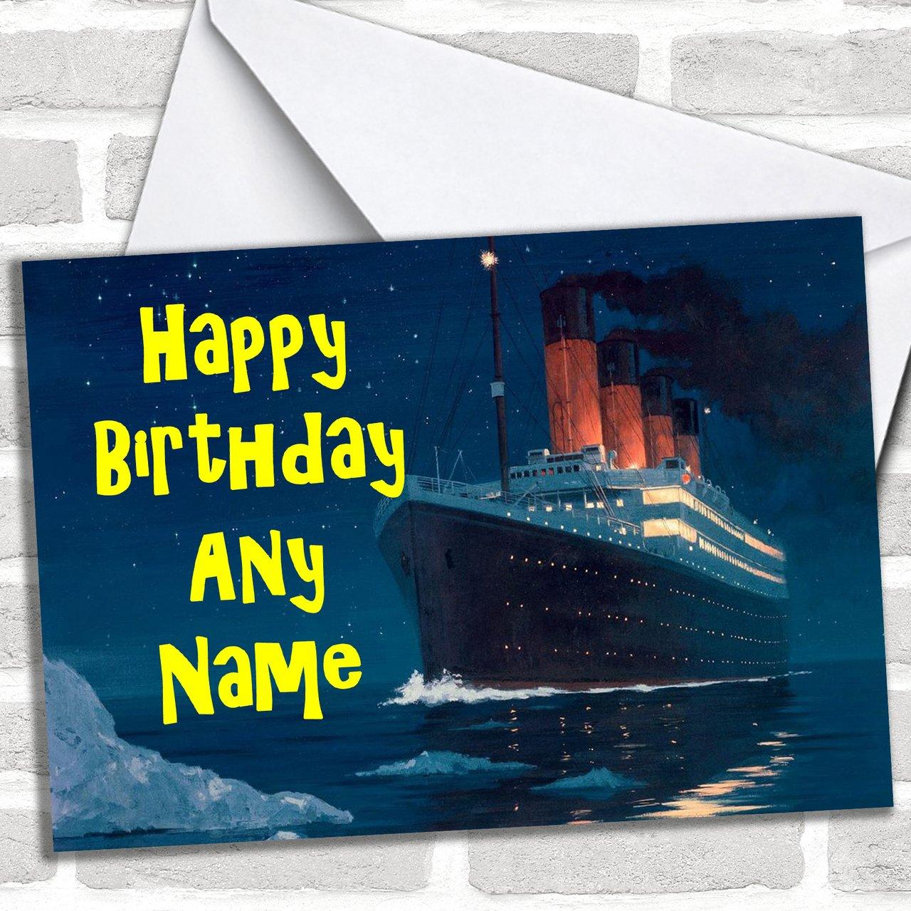Cruise Ship Personalised Birthday Greetings Card