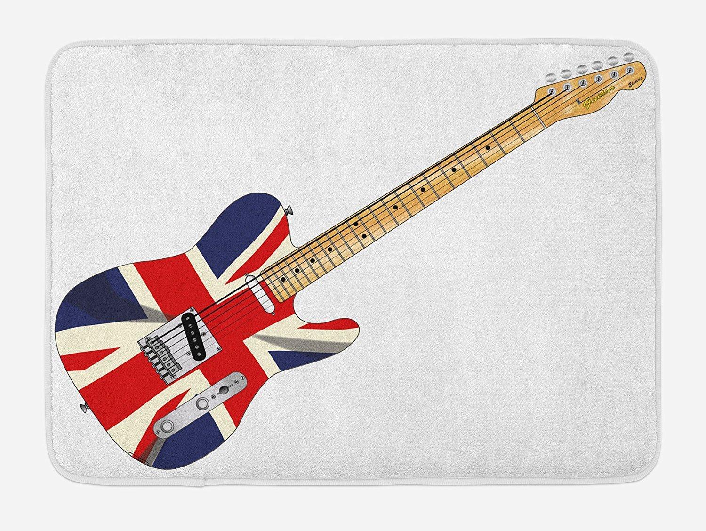 COCO-La Union Jack Alfombrilla de baño, guitarra eléctrica clásica con la bandera del Reino Unido, instrumento de música de Gran Bretaña, ...