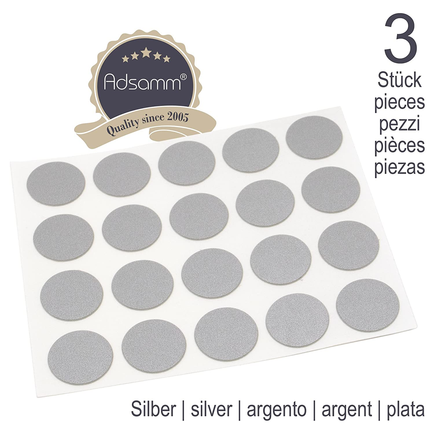 Adsamm 60 x Cover caps | Ø 0.51'' (Ø 1,3 cm) | Silver | Round | 0.018'' (0,45 mm) Thin, self-Adhesive Furniture Patches 3 cm) | Silver | Round | 0.018'' (0