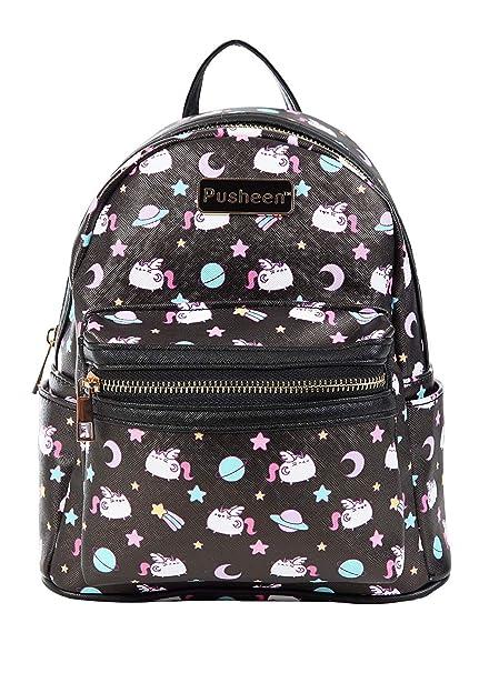IML Pusheen Cat Black Super Pusheenicorn Authentic Faux Leather Mini Backpack (Black)