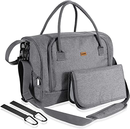 Oferta amazon: Lictin Bolso de cambiador bebé pañales Impermeable Bolsas de pañales bebés con una almohadilla para el pañal y bolsillos de aislamiento con 2 ganchos de carrito (Gris)