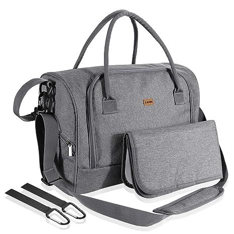 Lictin Bolso de cambiador bebé pañales Impermeable Bolsas de pañales bebés con una almohadilla para el pañal y bolsillos de aislamiento con 2 ganchos ...