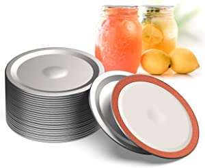 WTS Wide Mouth Canning Lids, 86mm Mason Canning Jar Lids, Leak Proof Split-Type Lids with Silicone Seals Rings. Wide Mouth Jar Lids. Fits Ball and Kerr Large Mouth Jars. (24 pcs)
