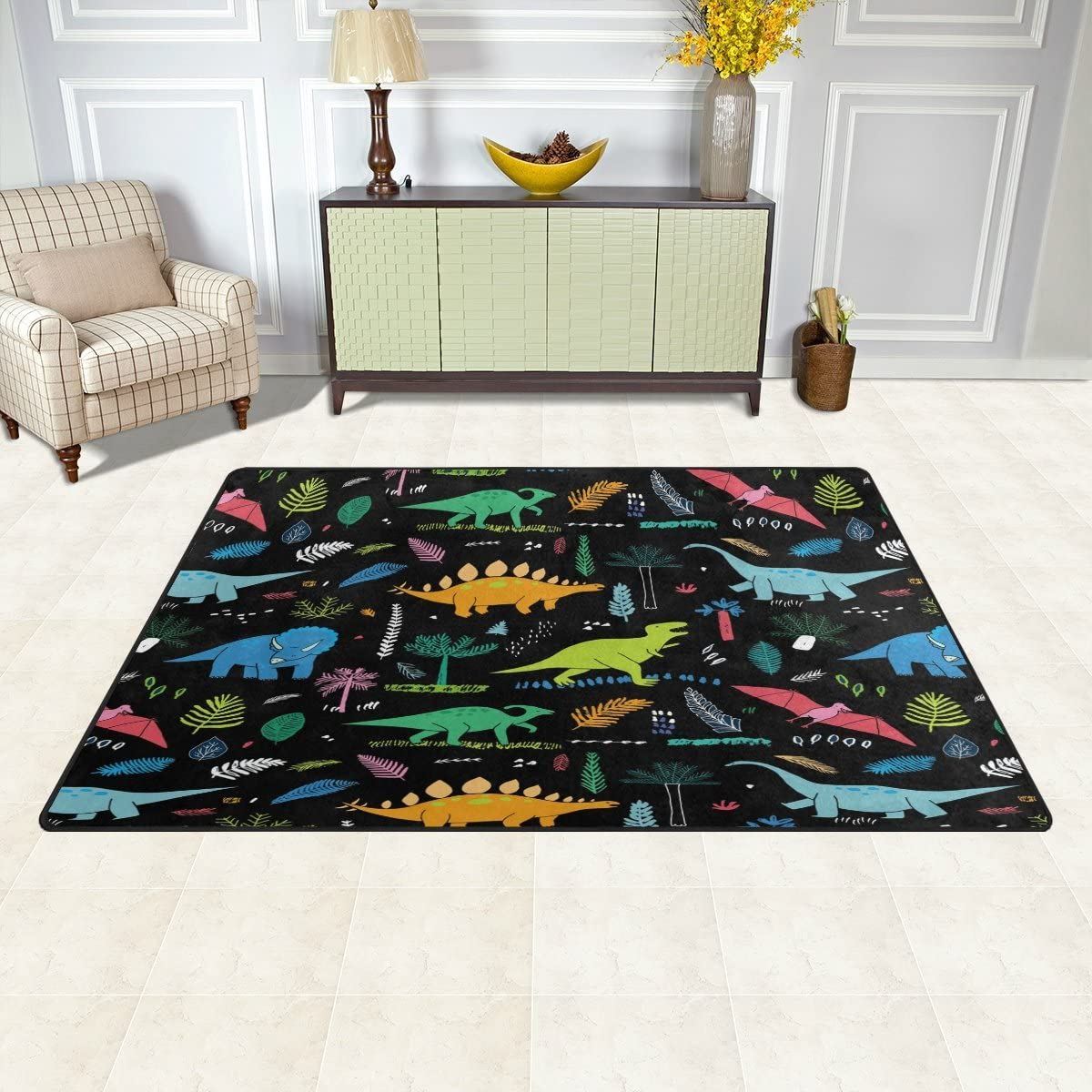 WOZO Funny Dinosaur Palm Leaf Area Rug Rugs Non-Slip Floor Mat Doormats Living Dining Room Bedroom Dorm 60 x 39 inches inches Home Decor