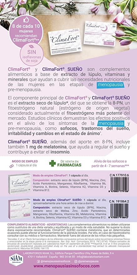 Laboratorios Niam - ClimaFort Sueño, cápsulas menopausia: Amazon ...