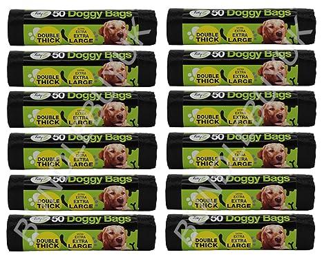 600 extra fuerte Tidyz negro perro bolsas de basura con lazo ...