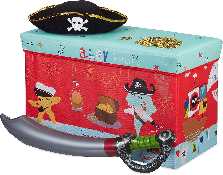 Relaxdays Baúl para Juguetes, Taburete Infantil, Plegable, niñas, Piratas, 50L, Rojo, 36 x 60,5 x 30,5 cm