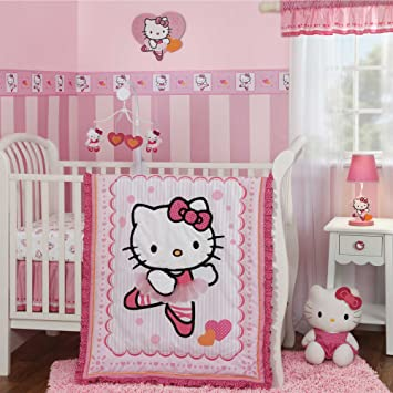 f3107755d Amazon.com : Hello Kitty Ballerina 4 Piece Crib Bedding Set with Bumper by  Bedtime Originals : Hello Kitty Baby Bedding : Baby