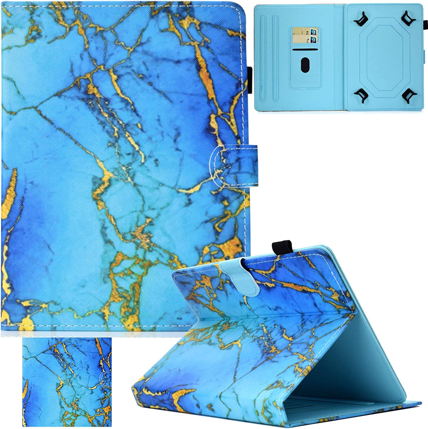 Universal Case for 7.0-7.5 inch Tablet, Artyond PU Leather Magnetic Protect Case with Card Slot Flip Stand Wallet Case for All 7.0-7.5 inch Kindle, Android, Galaxy Tab, Windows Tablet (Blue Marble)