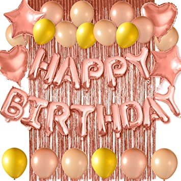 FEPITO Rose Gold Happy Birthday Letter Balloons Banner, con ...