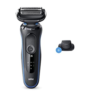 Braun Series 5 5018s Easy Clean Electric Razor for Men with Precision Trimmer, Wet & Dry, Rechargeable, Cordless Foil Shaver, Blue