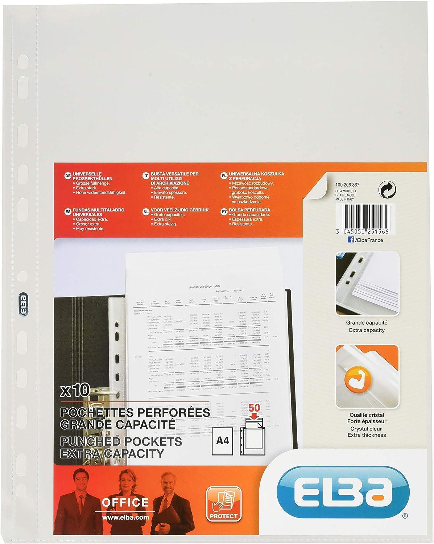 Elba 100206877 Pochette de rangement en polypropyl/ène avec marge color/ée Format A4 Vert