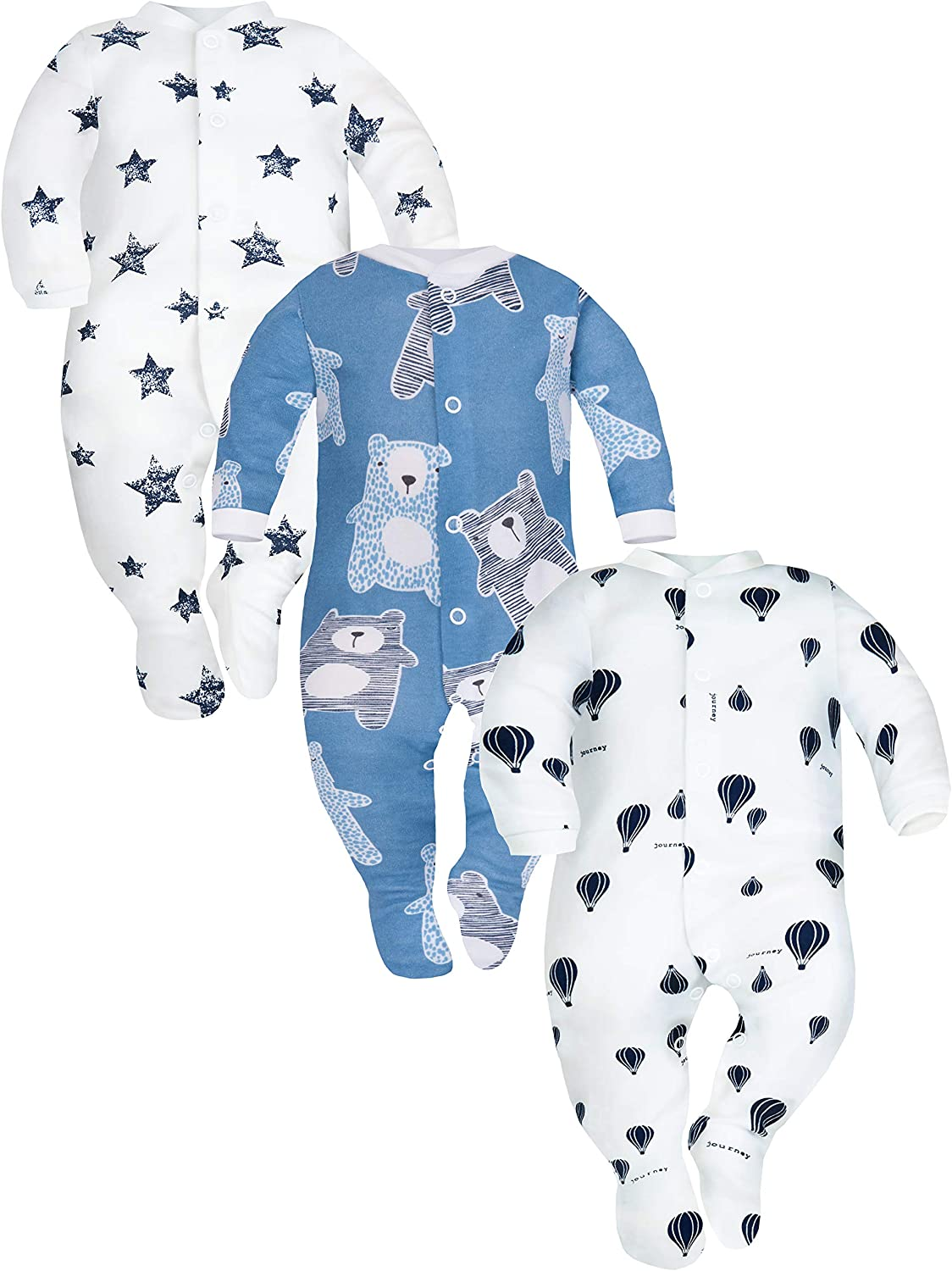 Pack of 3 SIBINULO Baby Boys Baby Girls Sleepsuit with Feet Mix Sizes 0-9 Months